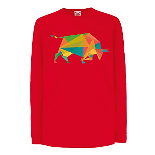 N4364D La Camiseta de los niños con Mangas largas Fashion Bull (12-13 Years Rojo Multicolor)