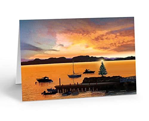 Holiday Marina Sunset Christmas Card - 18 Boxed Boating Christmas Cards and Envelopes (Standard)