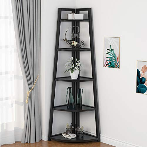 Tribesigns 70 inch Tall Corner Shelf, 5 Tier Modern Corner Bookshelf Industrial Corner Ladder Shelf Small Bookcase Plant Stand for Living Room, Kitchen, Home Office (Black)