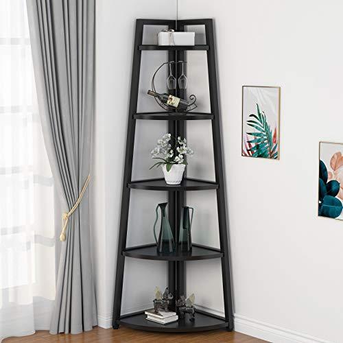 Tribesigns 70 inch Tall Corner Shelf, 5 Tier Modern Corner Bookshelf Industrial Corner Ladder Shelf...