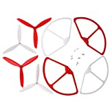 sea jump 4pcs 3-Blade Propeller Blades Props + 4pcs Propellers Protectors Blade Frame for Cheerson CX20 CX-20 RC Quadcopter Spare Part Replacement, Red / White