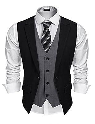 Coofandy Mens Formal Fashion Layered Vest Waistcoat Dress Vest, Black, Large from