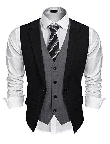 Coofandy Mens Formal Fashion Layered Vest Waistcoat Dress Vest,Black,X-Large