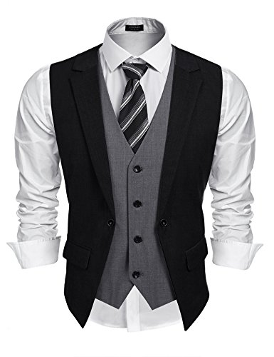 Coofandy Mens Formal Fashion Layered Vest Waistcoat Dress Vest, Black, Large