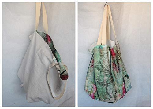 Tasche groß, Strandtasche, hobo Bag, Shopper, zum Wenden, Wendetasche Leinen