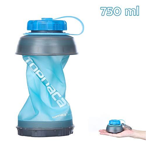 Topnaca Faltbare Trinkflasche Reise Wasserflasche Camping 750ml Outdoor Flasche, Auslaufsichere BPA Frei Leichte Zusammenfaltbar Klappbare für Wandern Rucksackreisen Bergsteigen (Blau/Grau)