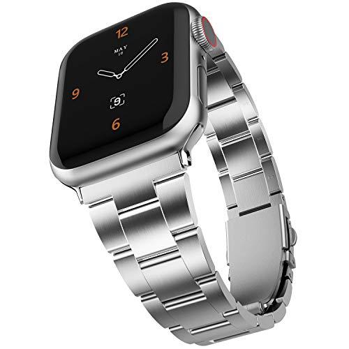 Adepoy für Apple Watch Armband, Verbesserte Edelstahl Metall Ersatz Armband Kein Werkzeug Erforderlich für iWatch 44mm 38mm 42mm 40mm Apple Watch 5 4 3 2 1 (Silber, 42mm/44mm)