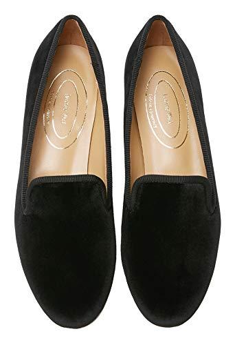 Journey West Women's Loafer Flat Velvet Embroidery Smoking Slippers Slip on Shoes for Women Plain Black US 9