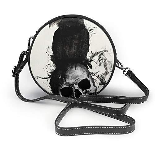 Raven And Skull Borsa a tracolla rotonda a tracolla in pelle borsa borsa a tracolla per donne e ragazze