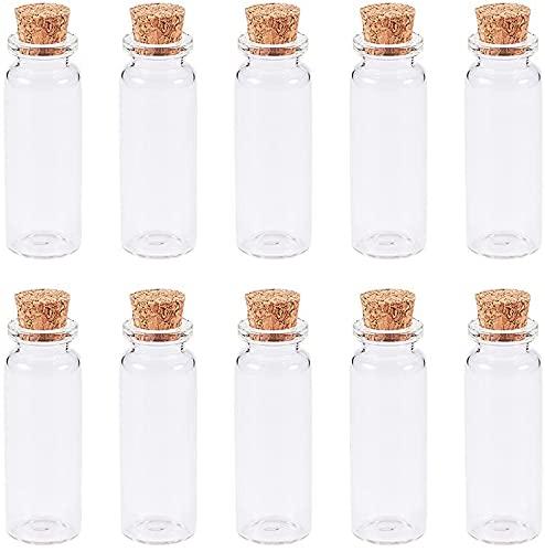yi wan 10 botellas de vidrio pequeñas con corcho, botellas de deseos, para manualidades, decoración, regalos de boda, regalos de fiesta, accesorios de almacenamiento (12 mm x 23 mm)