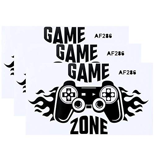 Fdit 3Pcs Gamer Wandaufkleber, Wandaufkleber Aufkleber Spielgriff Zitat PVC Küche Wandtattoo DIY für Schlafzimmer Dekoration