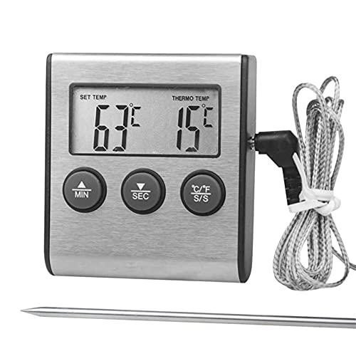 Termómetro de alimentos, Horno de sonda digital y Termómetro de carne con Modo Temporizador Contar Función Abajo, Probe de 110 mm de largo, for BBQ Grill