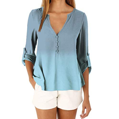 Women's Blouse Sleeve Chiffon Shirt Basic V-Neck Tops Adjustable Cuffed Button Down Notch V Neck Gradient Fashionable Chic Chiffon Tshirt Elegant Tops Casual or Office Wear Classic Tshirt XXL