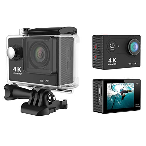 Action Camera, H9 Ultra HD 1080P 4K Action Camera 30M Waterproof with 2.0' Screen 170° Wide View Angle Wi-Fi Sport Cam, with HDMI HD Output,Black