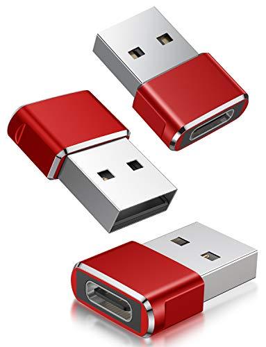 Adaptador USB C Hembra a USB Macho 3-Pack,Adaptador de Cable de Cargador Tipo C a USB A Para iPhone 11 12 Mini Pro Max,Airpods iPad 2021 M1,Samsung Galaxy Note 10 S20 Plus 20 S20+ S21 21 Ultra A90 A71