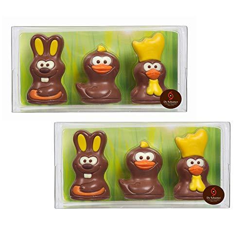 De Schutter 2 Astucci Figure di Pasqua Cioccolato Al Latte: 2 Conigli, 2 Pulcini, 2 Galli - Totale 108 Grammi