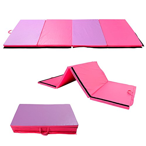 Soozier 6' x 4' x 2' PU Leather Folding Gymnastics Tumbling / Martial Arts Mat with Handles