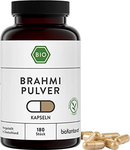 Brahmi Kapseln BIO | 180 Kapseln | 1500 mg je Tagedosis | vegan und ohne Zusätze | in Deutschland hergestellt und laborgeprüft | bioKontor