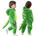 Toddler Infant Dinosaur Costume Flannel Hooded Onesies Soft Animal Romper Outfits Gift (24-30month, Green)
