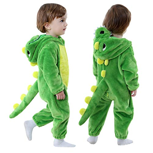 Toddler Infant Dinosaur Costume Flannel Hooded Onesies Soft Animal Romper Outfits Gift (24-30month,...