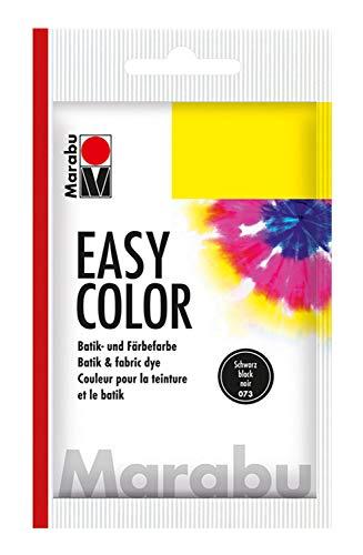 Marabu 17350022073 - Easy Color schwarz, Batik- und Handfärbefarbe für Baumwolle, Leinen, Seide und Mischgewebe, handwaschbar bis 30°C, sehr gute Lichtechtheit, nicht kochecht, 25 g