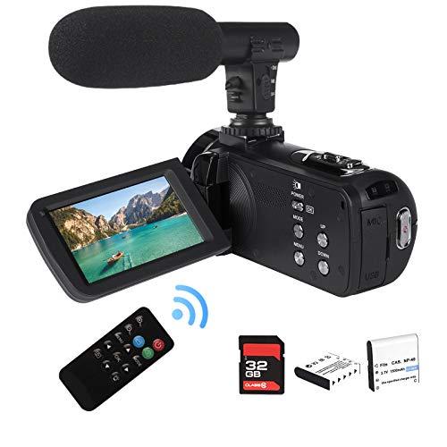 """2,7K Cámara de Video Videocámara GDV1302 Cámara de Vlogs Recargable Zoom Digital 18X Videocámara de Pantalla giratoria LCD FHD 42MP DV de 3"""" con micrófono Control Remoto Tarjeta SD de 32GB"""