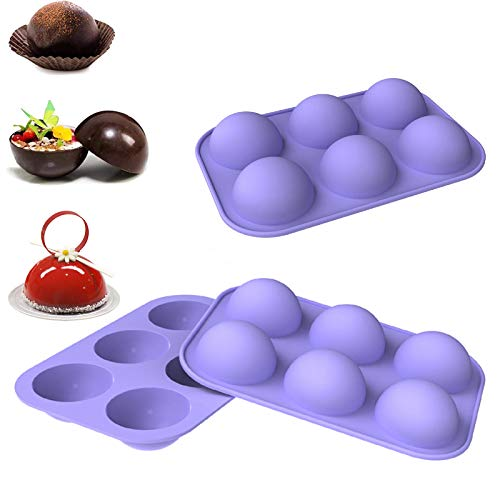 1 Pack Chocolate Silicone Mold, 6-Cavity Round Shape Silicone Baking Molds for Candy Mini Soap, Cake, Jelly, Pudding, Ice Cube Bread Cupcake and Jello