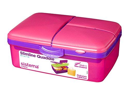 Sistema Lunch Slimline Quaddie Lunchbox mit Flasche, Plastik, pink/violett, 1.5 L