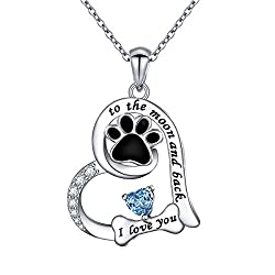Paw Print & Bone Sterling Silver Pendant Necklace