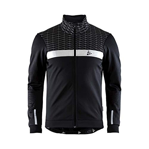 Craft Sportswear Men's Route Bike and Cycling Training Full Zip Long Sleeve Windproof and Waterproof Reflective Brushed Jacket, Black, Medium