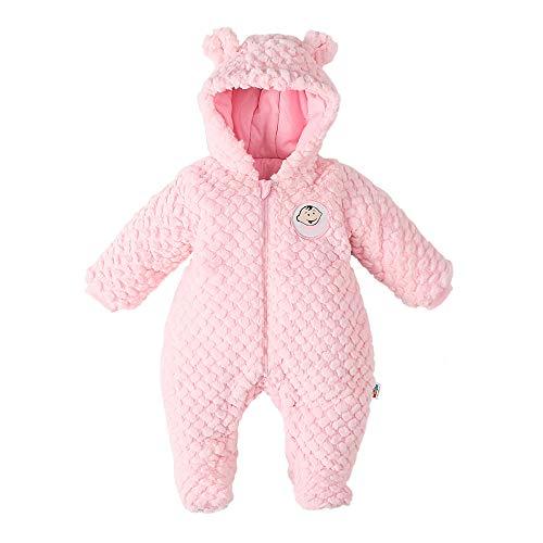 DDY Baby Fleece Schneeanzug Strampler Mit Kapuze Footed Onesies Flanell Reißverschluss Jumpsuit Wintermantel Outfit Anzug für Neugeborene Baby Junge Mädchen