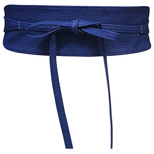 Cinturón Obi de mujer Banda de cintura ancha de encaje Cincha de cuero sintético Ate una talla Boho (Cuero Azul)