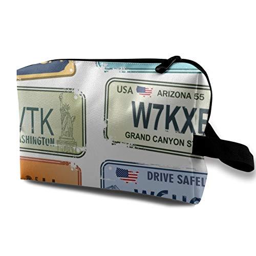 Bolsa de almacenamiento de lona de maquillaje de viaje, bolso de aseo...