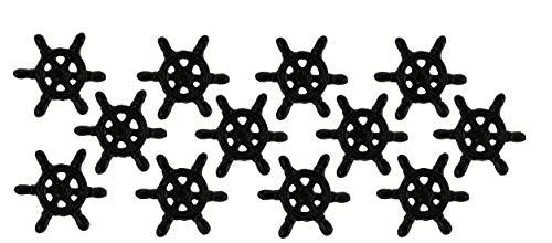 Chesapeake Bay Ltd Black Rust Cast Iron Nautical Ship Wheel Drawer Pulls or Cabinet Knobs Set of 12