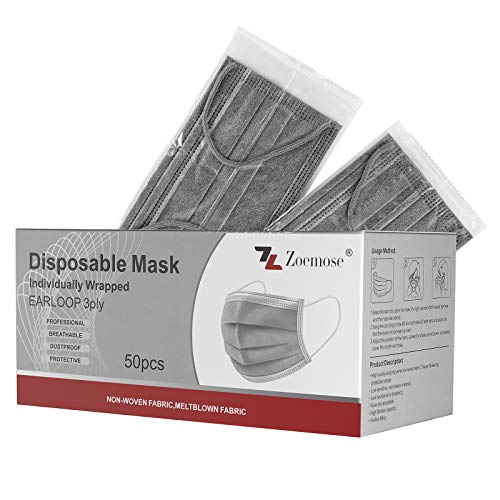 Disposable Face Masks 3-Ply Individually Wrapped for Home, School, Office and Outdoors (50 PCS,Gray)