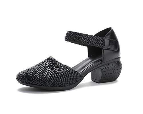 HSY SHOP Sandalen Frauen Bunte rückenfreie Pantoffelsandalen Anti-Rutsch-Orthopädie Vintage für Damen Mädchen Plus Size Sommersandale (Color : Black, Size : EU:40/UK:6/US:9)