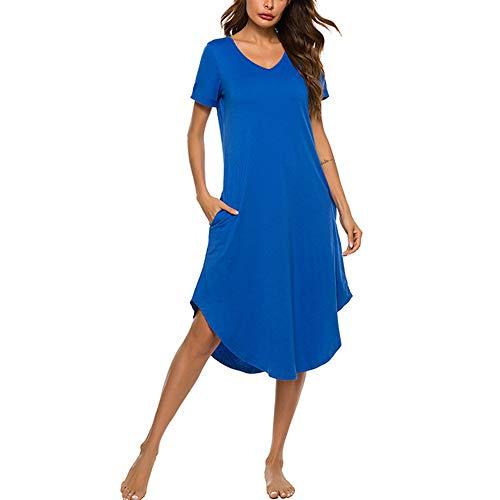 Elegante Cuello en V Vestidos de Casa, Morbuy Camisón Mujer Verano Pijama Camisón de Noche Verano Camisones de Manga Corta Talla Grande Ropa de Noche Sexy Pijama Vestido (XXL,Azul)