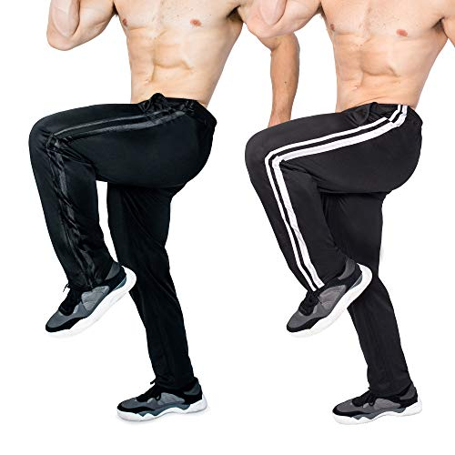 Brooklyn-Jax 2-Pack Men's Essential Track Pants. Active wear for Sports Activities, Soccer, Football, Baseball, Training, Basketball, Volleyball, Track (Set-2, X-Large)