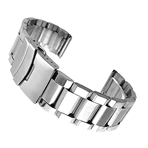 ZJSXIA Correas de reloj, correa de acero inoxidable, correa de metal de color plateado con cierre plegable para hombres y mujeres de 20/22/24 mm, correa de reloj de repuesto (color: -, tamaño: 20 mm)