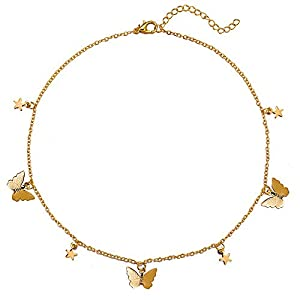 Dainty Choker Necklace Butterfly Star Pendant Necklaces Jewelry Moon Charm Collar Necklaces for Women Teen Girl Children Gift