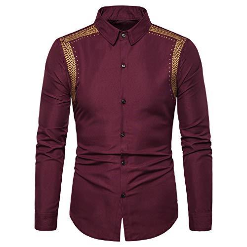 Loeay Camisa de Hombre Orejas de Trigo de Primavera Camisas para Hombre Impresas Casual Slim Fit Business Manga Larga Disfraces sociales
