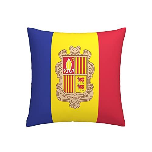 Kissenbezug mit Flagge von Andorra, quadratisch, dekorativer Kissenbezug für Sofa, Couch, Zuhause, Schlafzimmer, drinnen & draußen, niedlicher Kissenbezug 45,7 x 45,7 cm