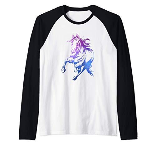 Colorato Equitazione Regalo Cavaliere Sagoma Di Cavallo Maglia con Maniche Raglan