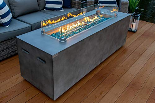 AKOYA Outdoor Essentials 70' Linear Rectangular Modern Concrete Fire Pit Table w/Glass Guard and Crystals in Gray (Caribbean Blue)