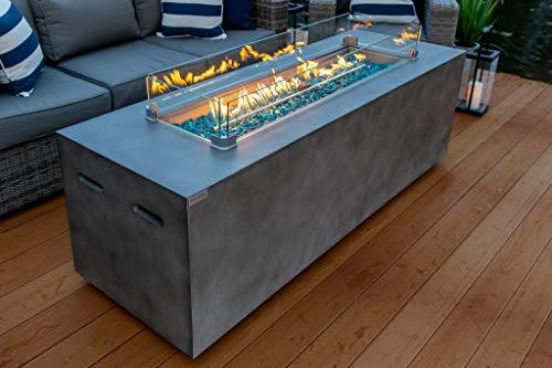 AKOYA Outdoor Essentials 70' Linear Rectangular Modern Concrete Fire Pit Table...