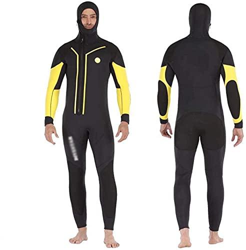 WSVULLD 7mm de traje de neopreno de neopreno de cremallera de 7mm de neopreno con sudadera con capucha con sudadera con capucha, cuerpo completo Termal Termal Ultra Estirar semi-seco Snorkel Trajes de