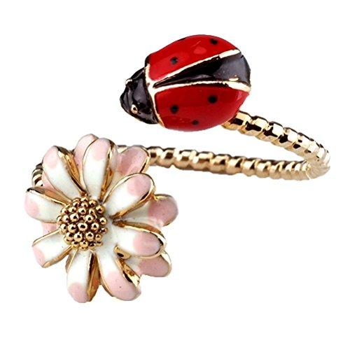 JOE COOL Vintage Style Enamel Flower and Ladybird Adjustable Fashion Ring - One Size