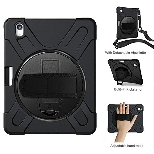 MLQ Heavy Duty Shockproof Protective Case Cover, Rugged Rubber Protection Case Cover with Pencil Holder/Shoulder Strap, for iPad Pro 11 Inch 2018