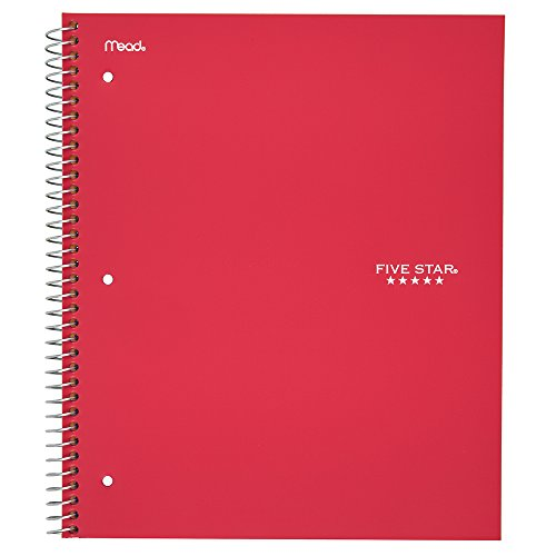 "Five Star Spiral College Ruled Notebook, 1 Subject, Wired Note Book with Pockets, 100 Lined Sheets, Writing Journal, Home School Supplies for College Students or K-12, 11"" x 8-1/2"", Red (72053)"
