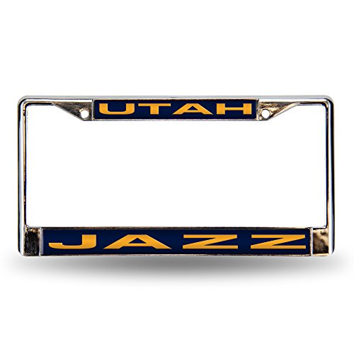 Rico Industries NBA Utah Jazz Laser Cut Inlaid Standard Chrome License Plate Frame